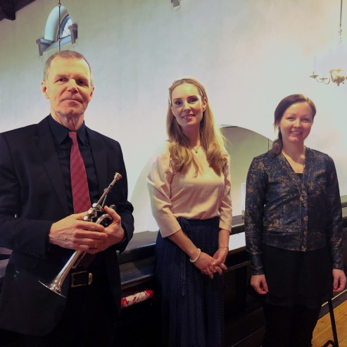 Börje Westerlund, Hannah Holgersson and Gundega Novotny during Easter Sunday at Boo kyrka.