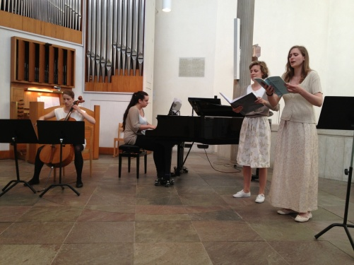 Some of my students; Miriam Nilsson, Teresia Sköld, Sissela Bergmark and Klara Dahlberg performing in St:a Birgitta kyrka, Nockeby.