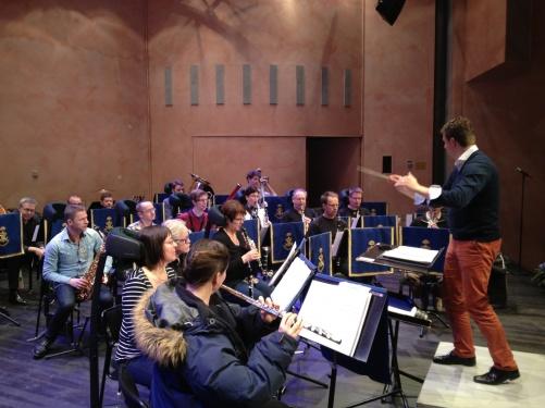 Per-Otto Johansson and Marinens Musikkår during sound check.