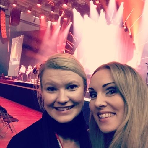 Tour Manager Veronica Panki Söderberg and Hannah Holgersson at Vida Arena, Växjö.