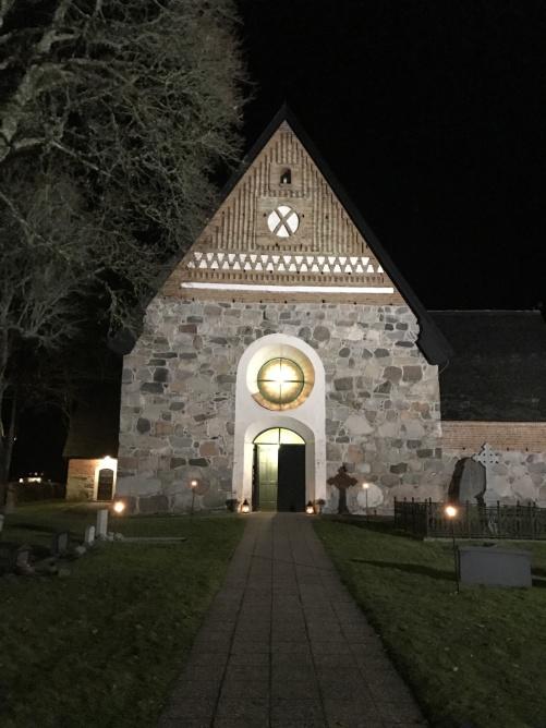 Beautiful Rimbo kyrka by night.
