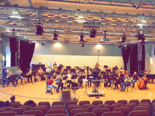 Rehearsal in Sparresalen, Karlskrona. Marinens Musikkår and Alexander Hanson.