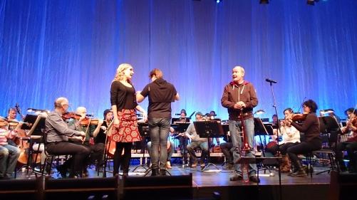 Dress rehearsal at Kristinehallen, Falun. Hannah Holgersson, Alexander Hanson, Nils Landgren and Dalasinfoniettan. Photo: Cecilia Tegenfeldt