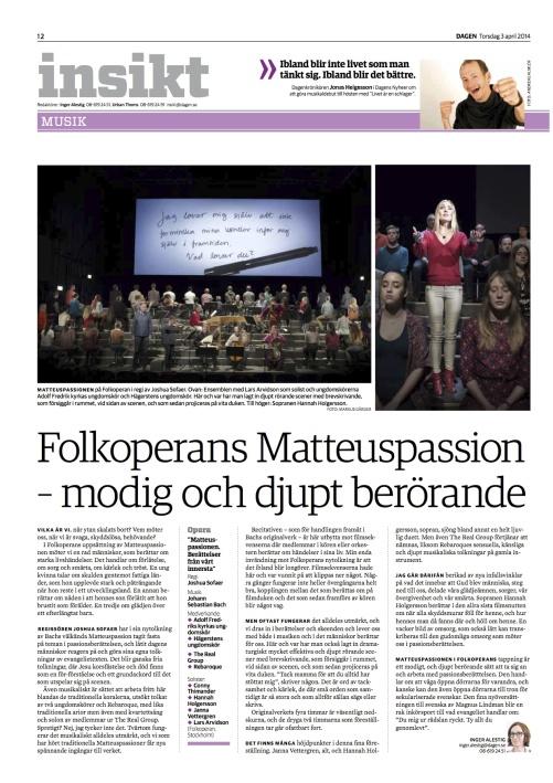 Review St Matthew Passion Tidningen Dagen 03-04-2014