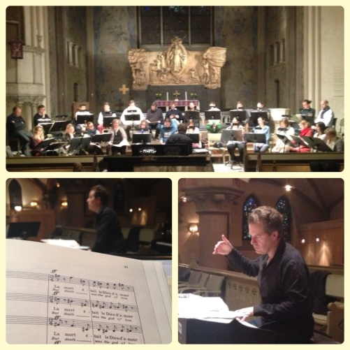 Rehearsal with the Eric Ericson Chamber Choir and conductor Fredrik Malmberg.