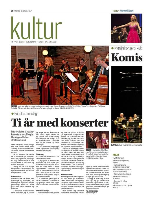 Review of the New Year Concerts in Harstad Kulturhus. Harstad Tidende, Norge, Kåre Torvanger