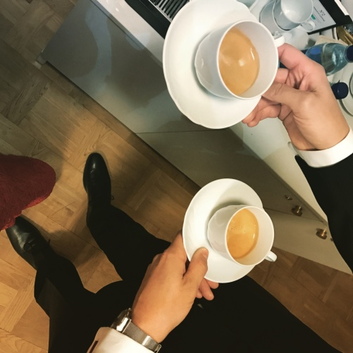 Hannah and David are having a nice coffee shot before concert...