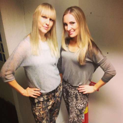 Janna Vettergren and Hannah Holgersson ready for dress rehearsal.... dressed for success...!=)