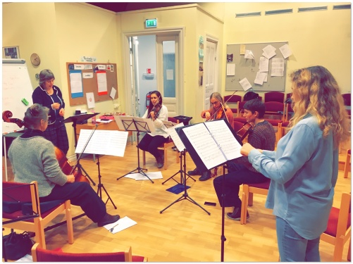 Rehearsal with composer Maria Löfberg, strings and soprano Tove Dahlberg.