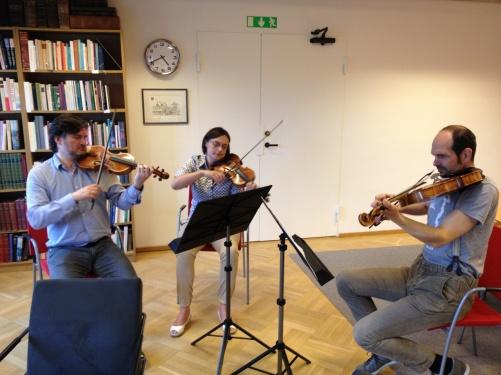 Aureliusz & Ewa Golinscy and Rastko Roknic during rehearsal of music from The Fairy Queen.