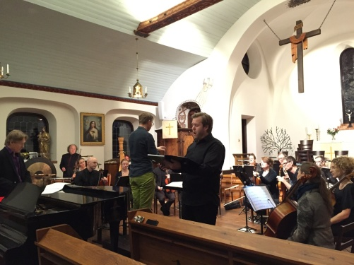 During dress rehearsal. From the left; Kjell Perder, conductor David Åberg and bass Andreas Franzén.
