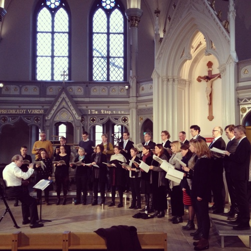 Gustaf Sjökvist and his chamber choir during rehearsal.