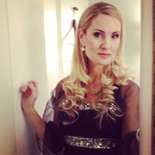 Hannah Holgersson back stage.