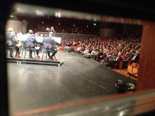 A view from backstage during concert in Crusellhallen, Linköping...