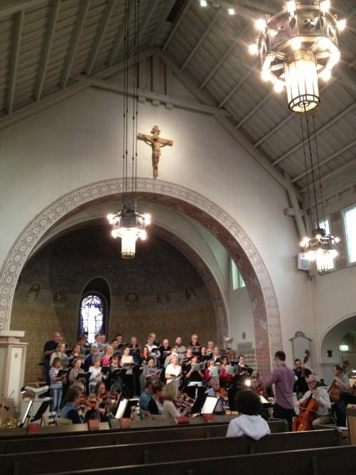 During rehearsal at Sundbybergs kyrka