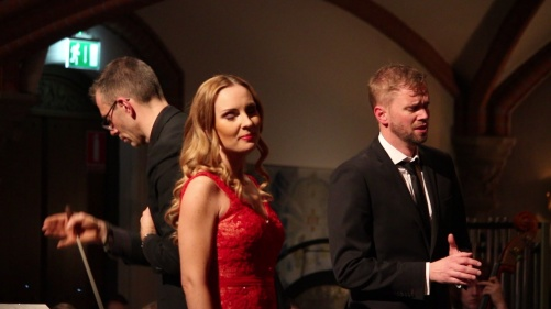 Conductor Pär Olofsson, soprano Hannah Holgersson and baritone Carl Ackerfeldt in Carmina Burana. Photo: Björn Ehnberg