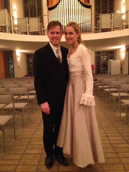 Conductor Christoffer Holgersson and Hannah Holgersson after the last concert in Uppenbarelsekyrkan, Hägersten.