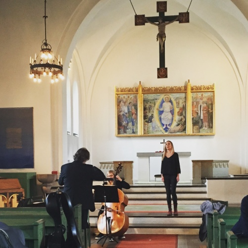 Hannah Holgersson and conductor Stefan Själander during dress rehearsal of St John Passion