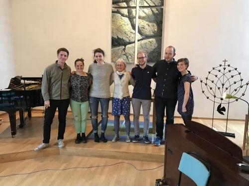 Classical students at Bromma Folkhögskola. From the left: Anton Gäfvert, Isabella Amundsen, Hanna Sverlander, Anna Hoffstedt, Emil Andersson, Christian Moderato, Julia Sigblad