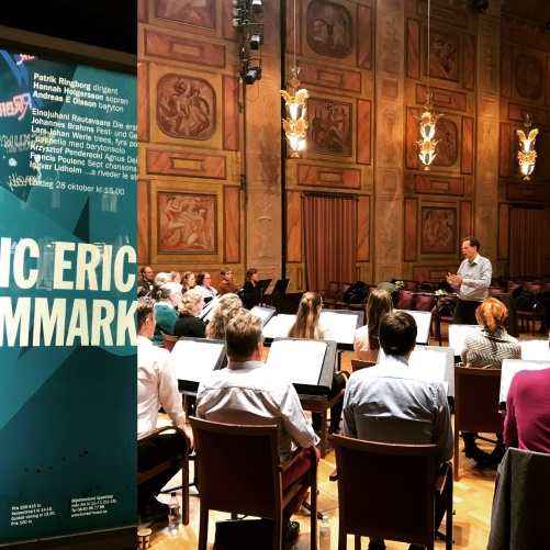Rehearsal with the Eric Ericson Chamber Choir and conductor Patrik Ringborg