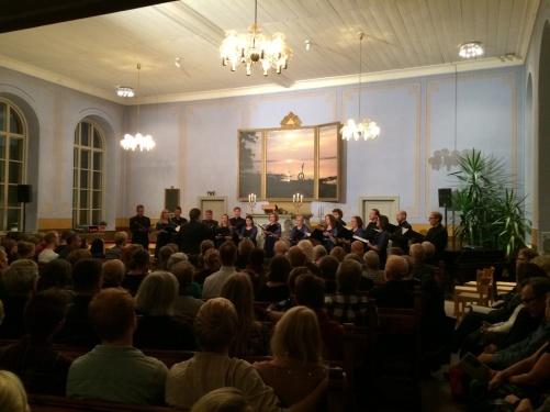 During concert in Vårdklockans kyrka, Visby.