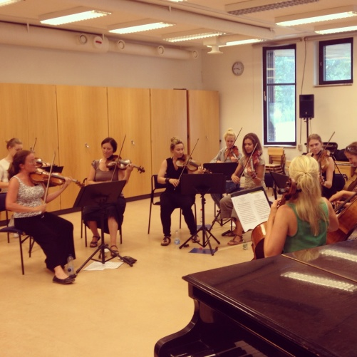The string orchestra Stråkkapellet during rehearsal!