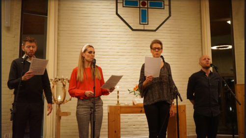 Jonas Olson, Hannah Holgersson, Josefina Torkelsson and Simon Boström in Åbyberskyrkan, Vallentuna. Photo: Per-Arne Lindeborg