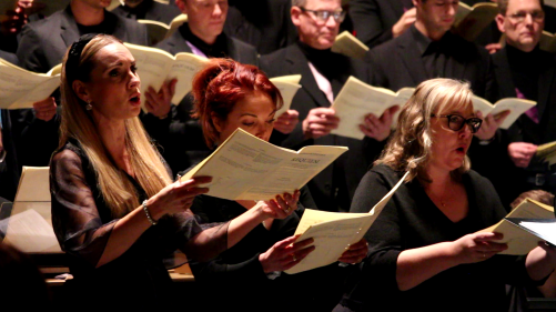 Hannah Holgersson, Miranda Colchester and Marie Olhans in Requiem by Alfred Schnittke, Oscarskyrkan, Stokcholm. Photo: Björn Ehnberg