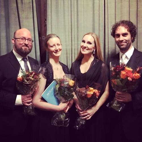 Johan Wållberg, Maria Sanner, Hannah Holgersson and Thomas Volle after singing Requiem by Mozart at Uppenbarelsekyrkan, Saltsjöbaden.