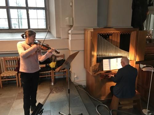 Katarina Bengtson Dennis and Per-Ove Larsson rehearsing at Adolf Fredriks kyrka, Stockholm