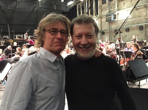 Anders Hillborg and conductor Brad Lubman during rehearsal with NDR Sinfonieorchester at Kampnagel, Hamburg.