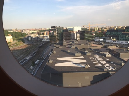 Ja, vi bodde ju som sagt vid Friends Arena så det här var utsikten från vårt hotellrum på 18:e våningen.