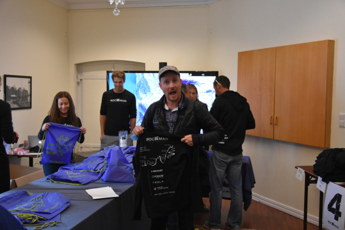 Daniel Becker feels the pressure after receiving the Rockman wool shirt with the printed elevation map on the back.