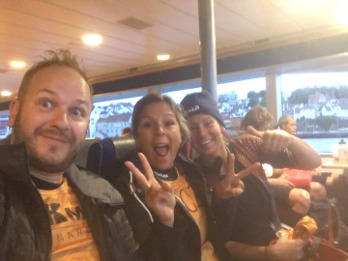 Yours truly, Eva and Elin (Team Powerwoman) on the boat to Fantahålå – the Villain's Cave.