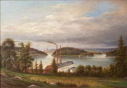 Utsikt från Alvik in mot staden, 1884. Nedanför berget vid Alviks strand syns byggnaderna till Lars Montén & Co:s stearinljusfabrik.