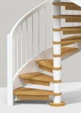 """Spiraltrappa """"Nova"""", med stor variation, och vangstycken i böjlimmat trä. Öppen eller med täta steg i massivt trä. Mittpelare i rostfritt stål, massivt trä eller i valfri NCS-kulör. Räcke med stående ståndare vilka man kan få i olika utförande."""