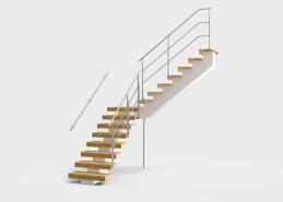 Trappa Balk är helt tillverkad i trä, och har L-formade steg monterade på en mittbalk vilket ger ett luftigt och öppet intryck. Balktrappan har en centralt placerad mittbalk tillverkad i trä. Stegen som är L-formade tillverkas i massivt trä, och kan fås i flera olika träslag och kulörer. Trappan tillverkas i raka sektioner. Räcket tillverkas i rostfritt stål.