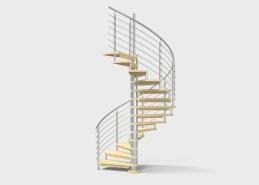 Spiraltrappa Galaxy, med mittpelare i rostfritt stål, plansteg i trä (man kan i princip välja träslag och kulör enligt samma princip som för trätrappor). Denna trappa kan också fås med steg i glas. Räcke i stål eller glas.