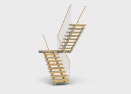 Gasell är en trappmodell med underliggande stålbalkar med slät undersida. Trappans plansteg tillverkas i massivt trä och kan fås i många olika träslag och kulörer. Överliggare eller handledare tillverkas i trä alternativt stål. Vangstycken tillverkas av stål och levereras i rostfritt utförande eller ytbehandlat i valfri RAL-kulör. Modellen har två separerade balkar som placeras under stegen med distans till väggar. Gasell tillverkas i antingen rakt- eller vilplansutförande. Trappan kan fås med räcke tillverkat i glas alternativt stål.