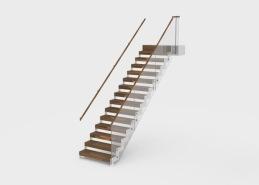 Profil är en trappmodell med sidovangstycken i stål. Trappans plansteg tillverkas i massivt trä och kan fås i många olika träslag och kulörer. Överliggare eller handledare tillverkas i trä alternativt stål. Vangstycken tillverkas av stål och levereras i rostfritt utförande eller ytbehandlat i valfri RAL-kulör. Modellen har två sidovangstycken och trappan går att tillverka i formerna Rak, L-formad, U-formad eller som vilplanstrappa. Räcket tillverkas i stål alternativt glas.
