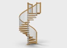 Spiraltrappa Satellite, med mittpelare i rostfritt stål, plansteg i trä (man kan i princip välja träslag och kulör enligt samma princip som för trätrappor). Stående spjälor i rostfritt stål som räcke.