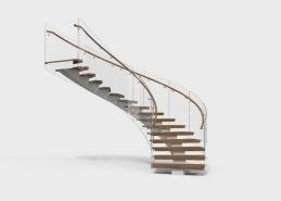Serpentine är en trappmodell med en svängd, centralt placerad balk som följer trappans form. Trappans plansteg tillverkas i massivt trä och kan fås i många olika träslag och kulörer. Räcket utförs i glas eller stål. Överliggare eller handledare tillverkas i trä alternativt stål.