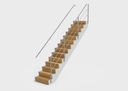Trappa Zäta 1 har täta Z-formade steg i massivt trä som kan fås i flera olika träslag och kulörer. Vangstycket är utformat som en utanpåliggande vang som tillverkas täckmålat i valfri NSC-kulör, eller massivt trä som ytbehandlas enligt önskemål.  Trappan Zäta är designad för att vara diskret samtidigt som stegens profil ger karaktär. De Z-formade stegen i massivt trä är monterade på en delvis underliggande vang. Räcket till trappan tillverkas vanligtvis i glas alternativt rostfritt material.