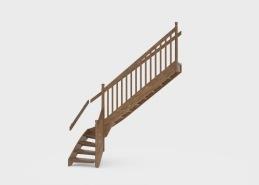Dixie tillhör kategorin klassiska räcken och har en spjäla som är 30 x 45 mm. Handledare, i format 40 x 90 mm med greppspår och stolpar, utförs med två frästa längsgående spår och en markerad topp. Trappan på bilden har sidovangstycken men kan också fås med underliggande vangstycken, se tillval. Räcket tillverkas i trä och kan fås i olika träslag och ytbehandlingar. Stolpdimension 68 x 68 mm.