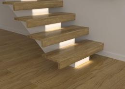 Beroende på modell och konstruktion av trappan kan den förses med integrerad belysning. Här visas exempel på belysning infälld i trappnos på en balktrappa.