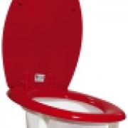 Toalettstolsförhöjning röd förstärkt fäste 4 höjder