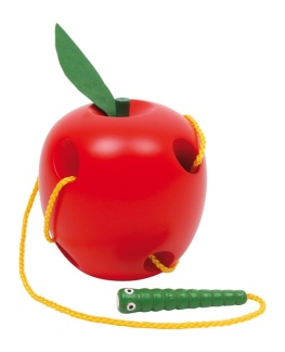 Trä äpple med mask -