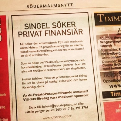 Sincerely Solo föreställning och performance med PotatoPotato Scenkonst