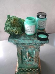 Svampa på grönturkosa nyanser. (På bilden Laguna Green & Cyan Turquoise)