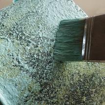 Sista lagret kan torrborstas med vanlig färg (ej Driftwoodsblandning).